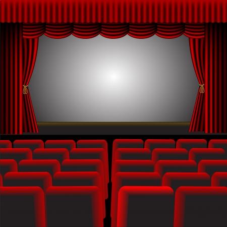 terciopelo azul: Un ejemplo de un cine o un teatro con tapicer�a roja y accesorios, con una pantalla y espacio para texto