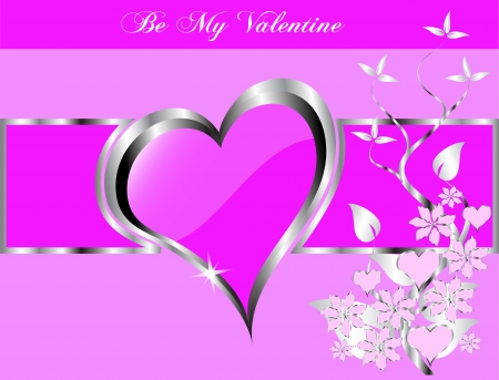 mauve: valentines background  a large central hearts on a mauve background Illustration