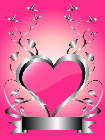 A vector valentines background  a large central hearts on a pink background Vector