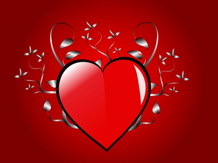 A valentines background  a large central hearts on a red background Vector