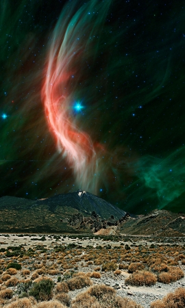 An alien landscape with a large volcano and arid landscape and the giant star Zeta Ophiuchi  in the background with its red dust clouds. Elements of this image furnished by NASA