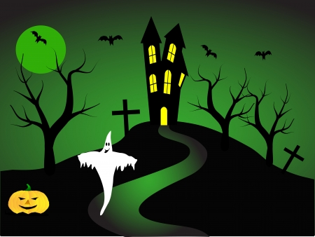 house party: A halloween vector illustration with a ghost  in front of a haunted house