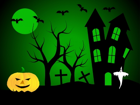 A halloween vector illustration with a ghost  in front of a haunted house Vector