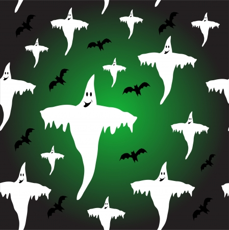 tileable: A seamless Halloween background which is fully tileable with ghosts and bats Illustration