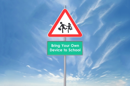 3d signs for  BYOD  concept  Bring your on device in school  Zdjęcie Seryjne