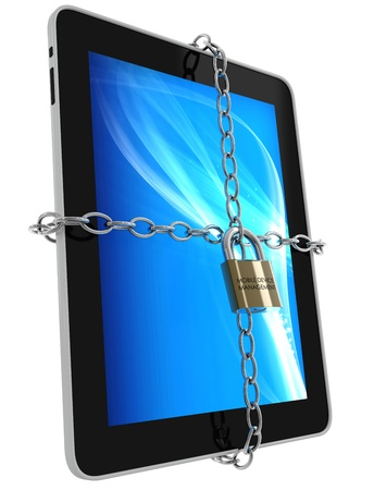 3d render of a tablet with chains and a padlock, branded  mobile device management , isolated on a white background