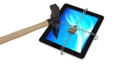3d render of a tablet with chains and a padlock, smashed by hammer and branded  mobile device management , isolated on a white background Zdjęcie Seryjne