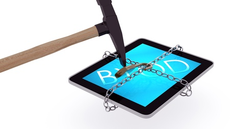 3d render of a tablet unchained and smashed by hammer, isolated on a white background