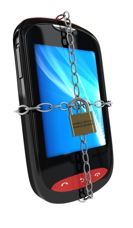 3d render of a smarphone with chains and a padlock branded  mobile device management , isolated on a white background Zdjęcie Seryjne