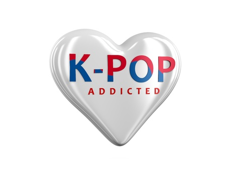 Heart branded korean pop addicted-concept for korean wave