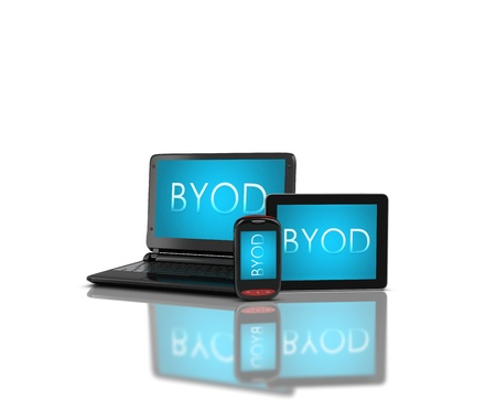 3d render  mobile devices - notebooklaptop, smartphone and tablet. Screens display a blue background image branded BYOD isolated on a white background. Zdjęcie Seryjne