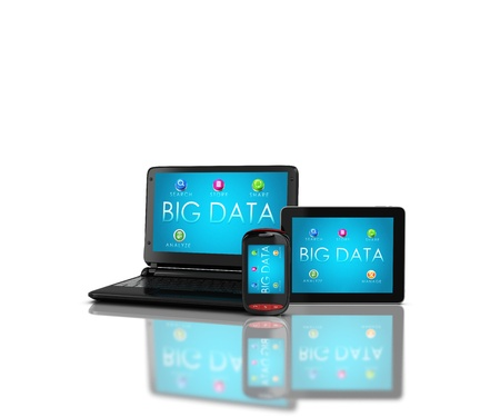 megabyte: 3d render of mobile devices - notebooklaptop, smartphone and tablet. Screens display a blue background image branded BIG DATAand icons search,store,share,analyze,manage isolated on a white background - concept