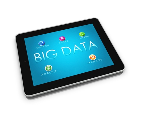 data: 3d render of mobile devices - tablet. Screens display a blue background image branded BIG DATAand icons search,store,share,analyze,manage isolated on a white background - concept