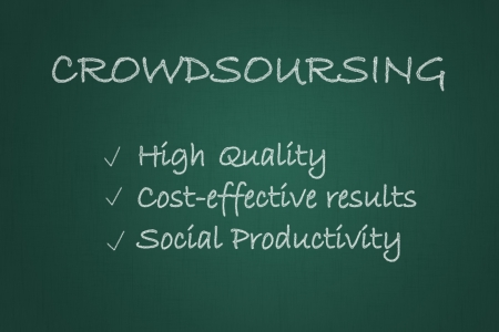 Crowdsourcing related words written on a chalkboard. Part of a series of business concepts.