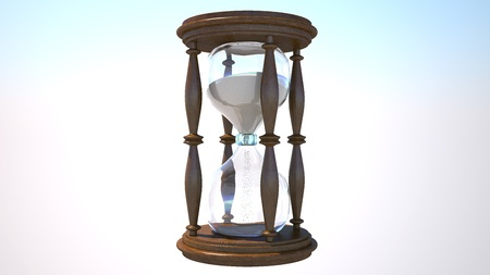 A realistic 3d hourglass with animated sand passing from one chamber to the next.  Zdjęcie Seryjne
