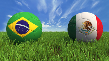 3D soccer balls with brazil and mexico flag, world football cup 2014  Palaced on 3d grass  Background isolated with clipping path