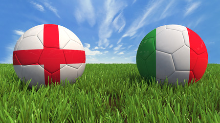 3D soccer balls with england and italy flag, world football cup 2014  Palaced on 3d grass  Background isolated with clipping path  Zdjęcie Seryjne