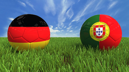 3D soccer balls with germany and portugal flag, world football cup 2014  Palaced on 3d grass  Background isolated with clipping path  Zdjęcie Seryjne