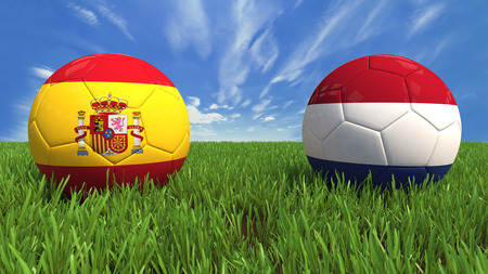 3D soccer balls with spain and netherlands flag, world football cup 2014  Palaced on 3d grass  Background isolated with clipping path Zdjęcie Seryjne - 27577837