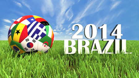 3D soccer balls with flags on world football cup 2014  Palaced on 3d grass  Background isolated with clipping path  Zdjęcie Seryjne - 27578252
