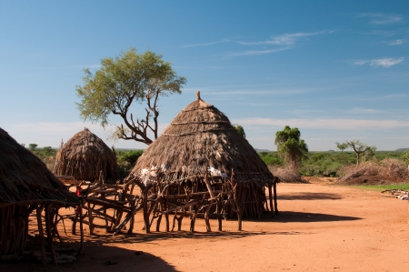 african village: African tribal hut Stock Photo