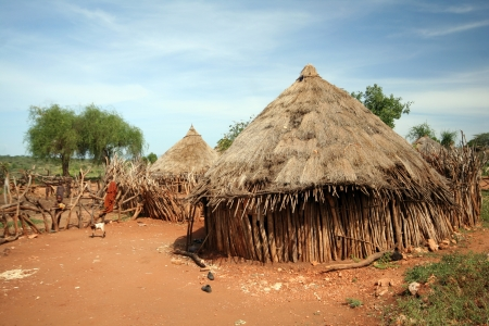 african tribe: African tribal hut Stock Photo