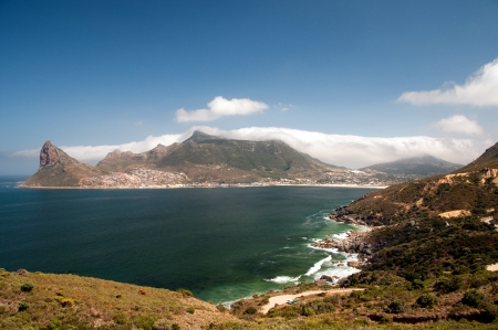 overall view of hout bay from chapman s peak, south africa photo