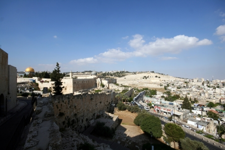 kotel: Western Wall and Dome of the Rock in the old city of Jerusalem, Israel