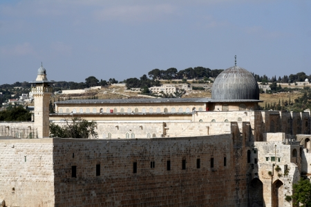al aqsa: Western Wall and Dome of the Rock in the old city of Jerusalem, Israel