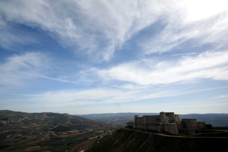 crenelation: Syria  Crac des Chevaliers  Qal at Al Hosn  - the most famous medieval Crusader fortress in the world - general view