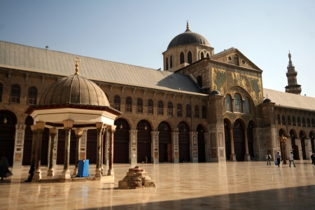 syria: Scenery of the famous Omayyad Mosque in Damascus,Syria