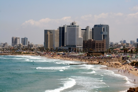 Sea coast and the view of the Tel Aviv from Old Jaffa  photo