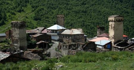 ushguli: Ushguli - the highest inhabited village in Europe  Upper Svaneti  Georgia  Stock Photo