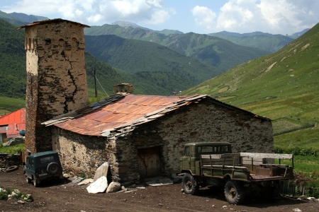 svaneti: Ushguli - the highest inhabited village in Europe  Upper Svaneti  Georgia  Stock Photo
