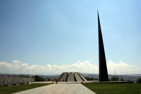 genocide: Eternal flame in Tsitsernakaberd  Tsitsernakaberd is a memorial dedicated to the victims of the Armenian Genocide in 1915  Yerevan, Armenia  The eternal flame inside the memorial