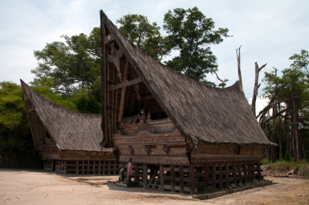 Traditional Batak style house at Lake Toba, Sumatra, Indonesia
