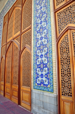 esfahan: Tiled oriental ornaments mosque s wall and windows on Sheikh Lotfollah mosque on Naqsh-i Jahan Square, Esfahan, Iran Stock Photo