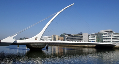 samuel: Samuel Beckett Bridge, Dublin, Ireland - pointing to Dublin Convention center Stock Photo