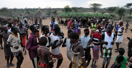 OMO VALLEY, ETHIOPIA-JAN 28  Hammer tribe preforming traditional dance, the ethnic groups in the Omo valley could disappear because of Gibe III hydroelectric dam on Jan 28,2012 in Omo Valley,Ethiopia