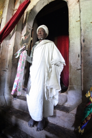 LALIBELA, ETHIOPIA - JAN 15  Priest Asheten Mariam, Lalibela s churches carved into the rock were declared World Heritage Site in 1978, Jan 15 2012 in Lalibela, Ethiopia