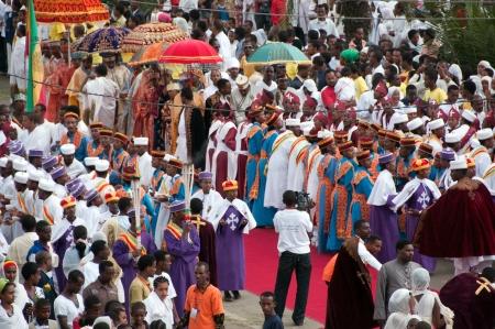 JAR MADA, ADDIS ABEBA - JAN 18  Ethiopian Orthodox celebration of Epiphany  It is celebrated on January 19 each year during the Timkat Festival  January 18, 2012 in Jar Mada, Addis Ababa, Ethiopia Stock Photo - 15056227