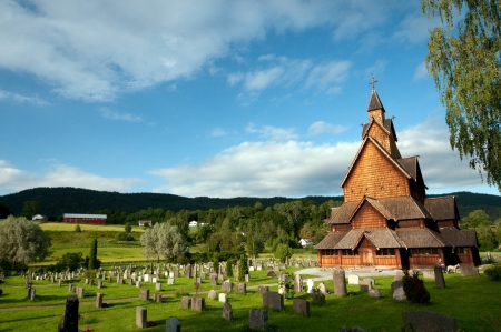 stave: Heddal Stave Church Stock Photo