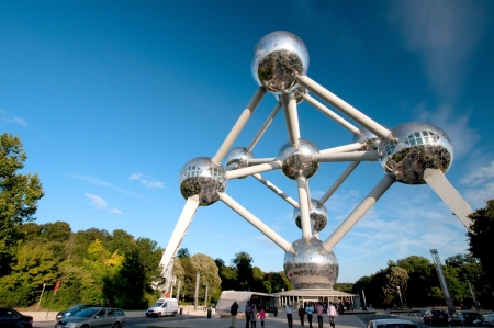 originally: Brussels, Belgium - September 21, 2010  The Atomium is a monument in Brussels, originally built for Expo  58, the 1958 Brussels World s Fair  People can visit the Monument and have souvenir at the shop  Editorial