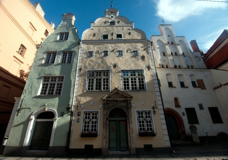 Three Brothers, a cluster of medieval houses in old town, Riga  Latvia