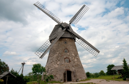 Traditional Old dutch windmill in Latvia