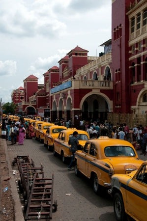 KOLKATA, INDIA- MAY 20  The classical ambassador cab is the unique style of taxi service that was imported from British  on May 20, 2011 in Kolkata, India  Editorial