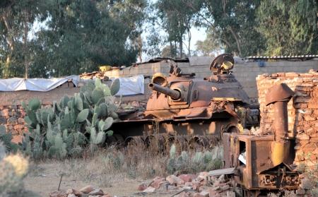 eritrea: Tank cemetery in Asmara, capital of Eritrea