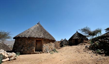 eritrea: Traditional hut in the village of Halib Mentel in Eritrea