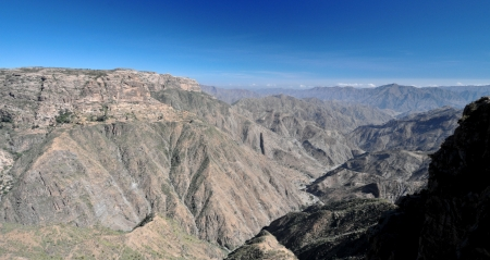 high plateau: View from the high plateau of Qohaito in Eritrea  Located over 2,500 meters above sea level in the Debub region of Eritrea  Stock Photo