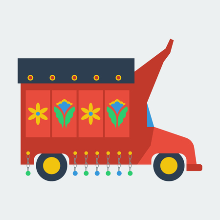south asian: Pakistani truck with artwork flat vector Illustration